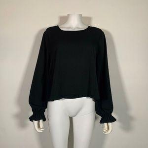 Bar lll Blouse Top Long Sleeve Black Sz XL
